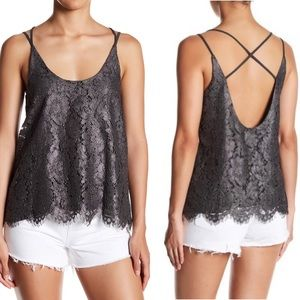 NWT Chaser Metallic Lace Crisscross Cami